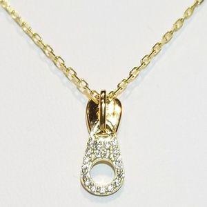Jewelry - NEW 925 Silver Diamond Pave CZ Zipper Necklace